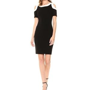 Tommy Hilfiger Scuba Cold Shoulder Sheath Dress